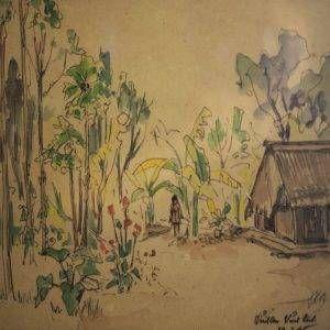 Lê Văn Xương, Vĩnh An Vĩnh Linh, ký họa màu nước, 21x26cm, 1965