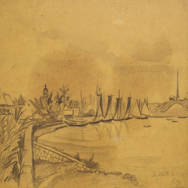 Lê Văn Xương, sông Nhật Lệ, ký họa màu nước, 21x28cm, 1965