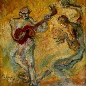 Cù Nguyễn, vũ điệu guitar, sơn dầu, 43×37, 1962