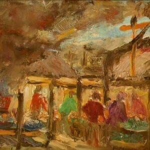 1.Hồ Phòng, chợ, sơn dầu, 17×40, 1982