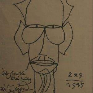 1.Hoàng Lập Ngôn, Bác Hồ, mực nho, 54x36cm, 1992