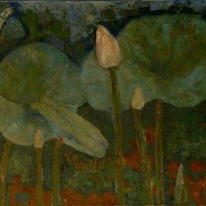 1.Kim Mỵ Yên, sen, sơn dầu, 46×61, 1967