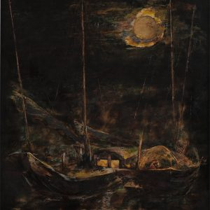 1.Nguyễn Đăng Giáp, dưới trăng, sơn mài, 70x50cm, 2016