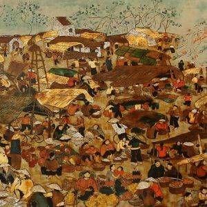 1.Nguyễn Trịnh Thái, chợ quê, sơn mài, 90x200cm, 2014