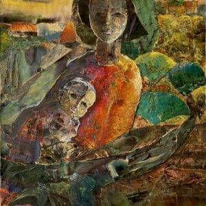 1.Sa Vũ, đầm ấm, dán giấy, 80×60, 2007