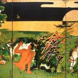 Thẩm Đức Tụ, Huyền thoại Tiên Dung – Chử Đồng Tử, sơn mài, 120x240cm, 2006