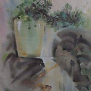 1.Thế Hùng, cây cảnh, lụa, 40×56, 1994