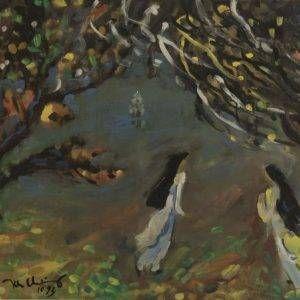 1.Trần Khánh Chương, bên hồ, lụa, 60×84, 1993