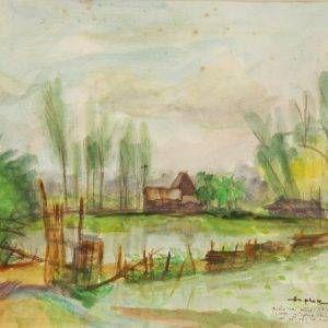 Hồ Phòng, Bình Trị Đông, mầu nước, 24x30, 1992