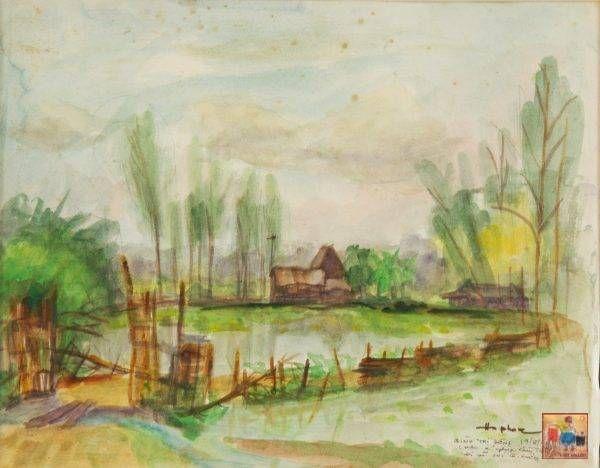 Hồ Phòng, Bình Trị Đông, mầu nước, 24×30, 1992