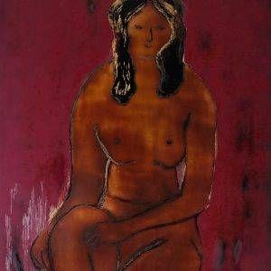 11.Bàng Sĩ Nguyên, nude, sơn mài, 40×50, 2001