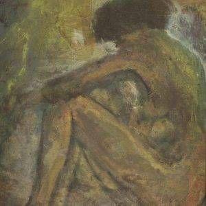 112.Bàng Sĩ Nguyên, mẫu tử, sơn dầu, 74×54, 1997