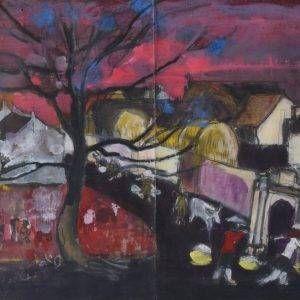 Nguyễn Xuân Việt, phác thảo chiều trong làng, tổng hợp, 52×76, 1980