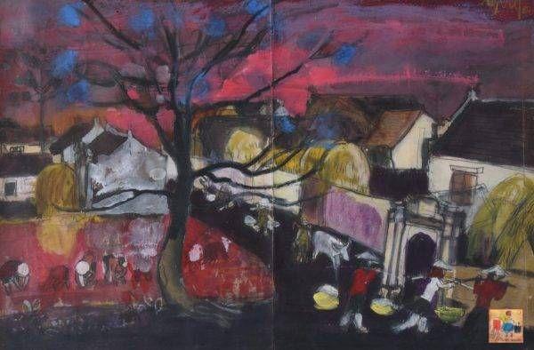 Phác thảo chiều trong làng của họa sĩ Nguyễn Xuân Việt