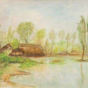 Hồ Phòng, phong cảnh Bình Trị Đông, mầu nước, 26×34, 1995