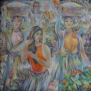 19.Trần Tuy, ba cô đội mâm lên chùa, sơn dầu trên bố, x cm, 2008