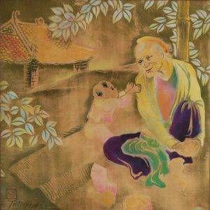 Tác phẩm Bà cháu của họa sĩ Tú Duyên