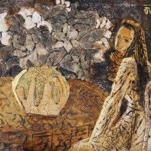 2.Lê Văn Thìn, thiếu nữ và hoa, sơn mài, 45×60, 2013