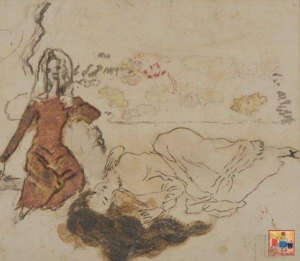 2.Nguyễn Gia Trí, cô hầu(2), tổng hợp, 37,5×43,5cm