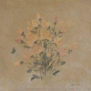 2.Nguyễn Văn Rô, tĩnh vật hoa, sơn dầu, 49×49, 1960