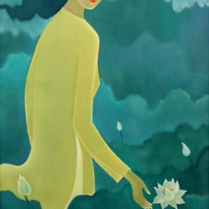 Phạm An Hòa, ngắm sen, sơn dầu, 75x120, 2014