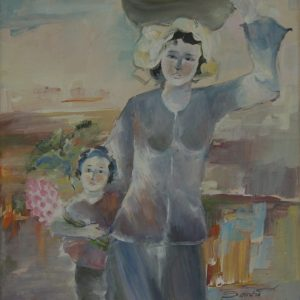 2.Sa Vũ, ra chợ, bột mầu, 46×33, 2004
