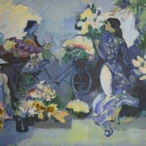 Thẩm Đức Tụ, chợ hoa Hà Nội, sơn dầu, 100x150cm, 2007