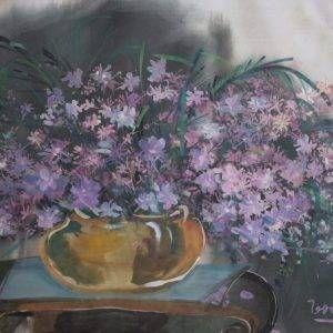 2.Thế Hùng, hoa, bột mầu, 36×56, 1995