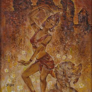 2.Văn Y, múa chăm, sơn dầu, 100×130, 2015