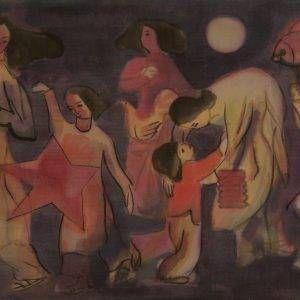 23.Nguyễn Xuân Việt, Tết trung thu, lụa, 36×56, 1994