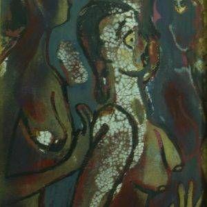 28.Nguyễn Xuân Việt,đàn bà dưới hỏa ngục (vẽ lại nghệ thuật AngKoVat), sơn mài, 20×30, 2004