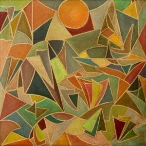3.Đặng Hoài Nam, trừu tượng, sơn dầu, 100×100, 1970