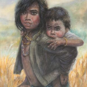Lâm Kim, chị em, phấn tiên, 75x55cm, 1981