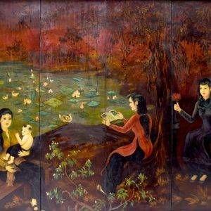 3.Lê Trung, Trong vườn, sơn mài, 140×160, 1950