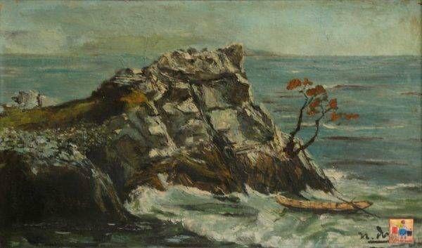 3.Ngọc Dũng, bến đá, sơn dầu, 30×50, 1960