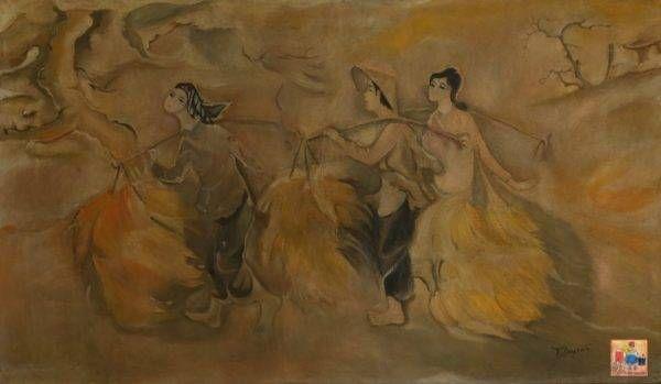 Tác phẩm Mùa gặt của họa sĩ Tú Duyên được vẽ bằng chất liệu là sơn dầu, có kích thước 110x190cm. Tranh được sáng tác năm 1973.