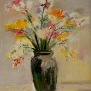 Thẩm Đức Tụ, tĩnh vật hoa, sơn dầu, 80x60cm, 2009