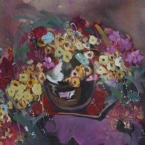 3.Thế Hùng, hoa, bột mầu, 48×66, 1995