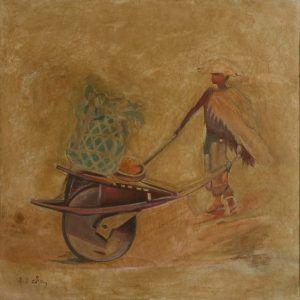 5.Đào Sĩ Chu, xe cút kít, sơn dầu, 100×100