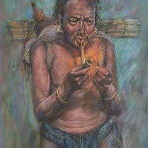 Lâm Kim, già làng, phấn tiên, 75x55cm, 1972