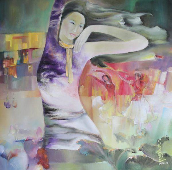 5.Sa Vũ, bên sân khấu, sơn dầu, 100×100, 2016