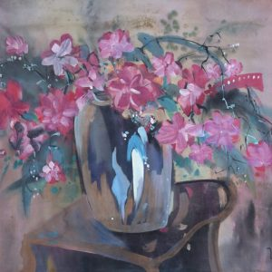 5.Thế Hùng, hoa, bột mầu, 42×56, 1995