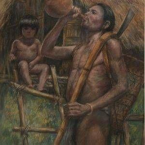 Lâm Kim, già làng, phấn tiên, 75x55cm, 1978