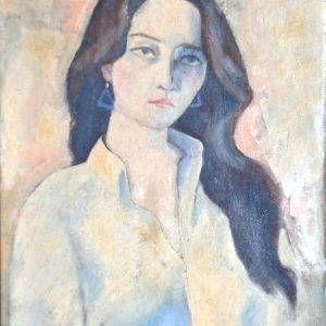 7.Nguyễn Trịnh Thái, chân dung thiếu nữ, sơn dầu, 59x45cm, 1990