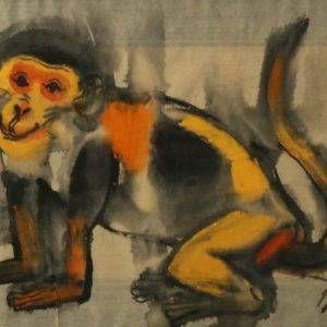 8.Đỗ Phấn, khỉ – Bính Thân, mầu nước trên giấy dó trên giấy dó, 30x40cm, 2016