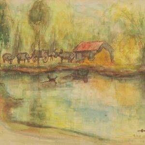 Hồ Phòng, Bình Trị Đông, mầu nước, 20x27, 1988