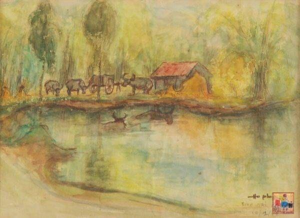 Hồ Phòng, Bình Trị Đông, mầu nước, 20×27, 1988