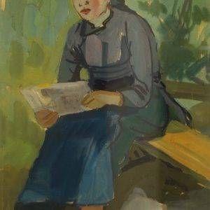 CD 08 chân dung ký họa, bột mầu, 45x32cm, 1964, Nguyễn Sĩ Thiết (có khung)