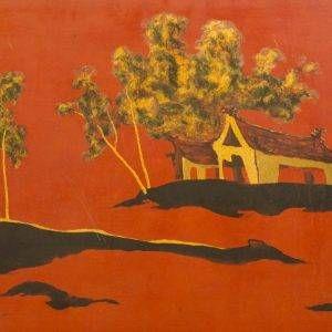 Dương, phong cảnh, sơn mài, 50×70, 1996