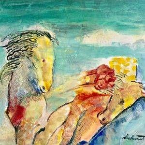 Hồ Hữu Thủ, bông hồng cho em, sơn dầu, 62x73cm